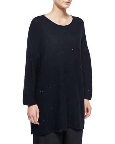 Paillette-Detailed Side-Slit Sweater