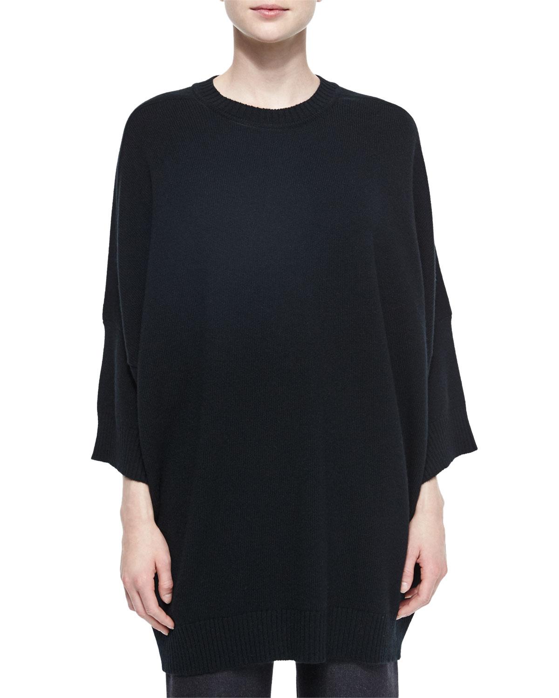 Crewneck Dolman-Sleeve Cashmere Sweater