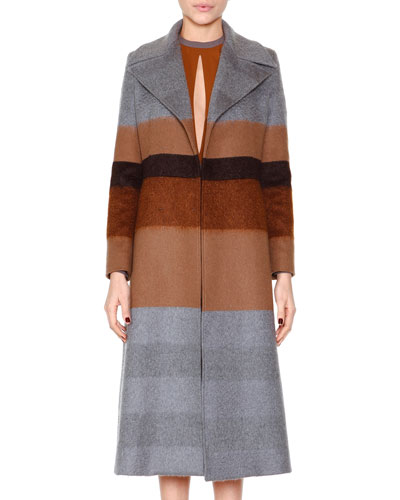 Striped Wool-Blend Coat