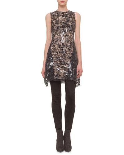 Sheer-Lace Handkerchief-Hem Dress