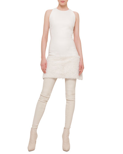 Shearling Fur-Trimmed Apron Dress