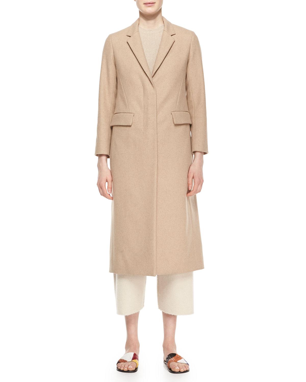 Classic Fitted Zip Long Coat, Camel Melange