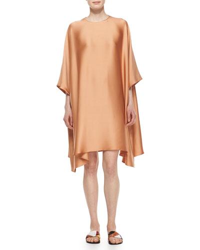 3/4-Sleeve Satin Caftan Dress