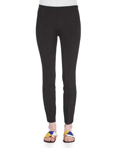 Skinny Side-Zip Pants, Black