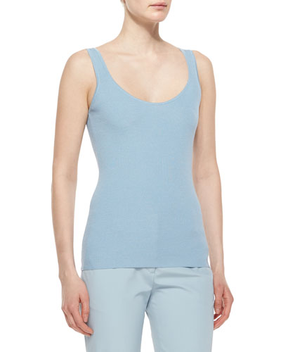 Scoop-Neck Wool/Silk Tank Top, Nile Blue