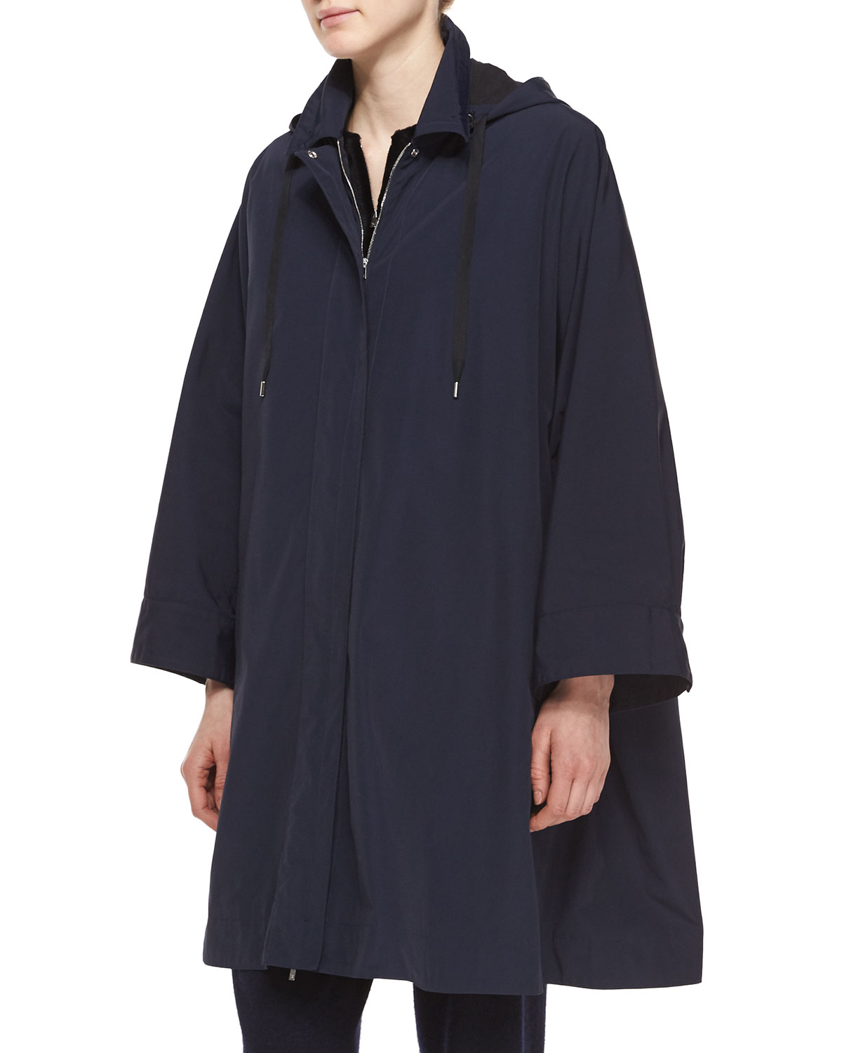 Water-Repellant Hooded Raincoat, Navy