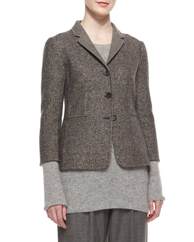 Double-Faced Tweed Jacket, Charcoal Melange