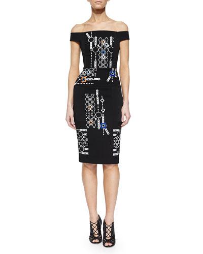 Off-The-Shoulder Arcade-Print Sheath Dress