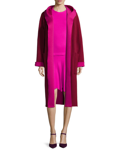 Long-Sleeve Two-Tone Coat, Claret/Shocking Pink