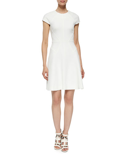 Blair Cap-Sleeve Dress, Ivory