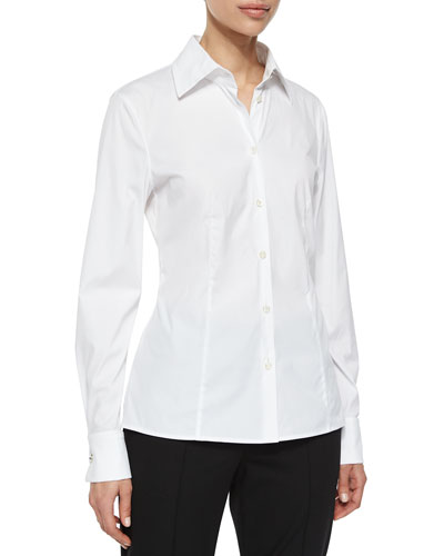 Cotton Blouse w/Crystal Cuffs
