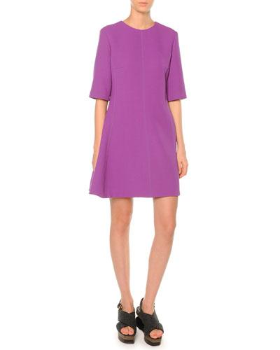 Half-Sleeve Flared Dress