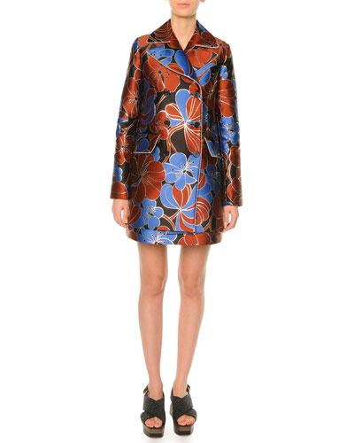 Pimpernel Blossom Jacquard Double Breasted Coat, Raisin
