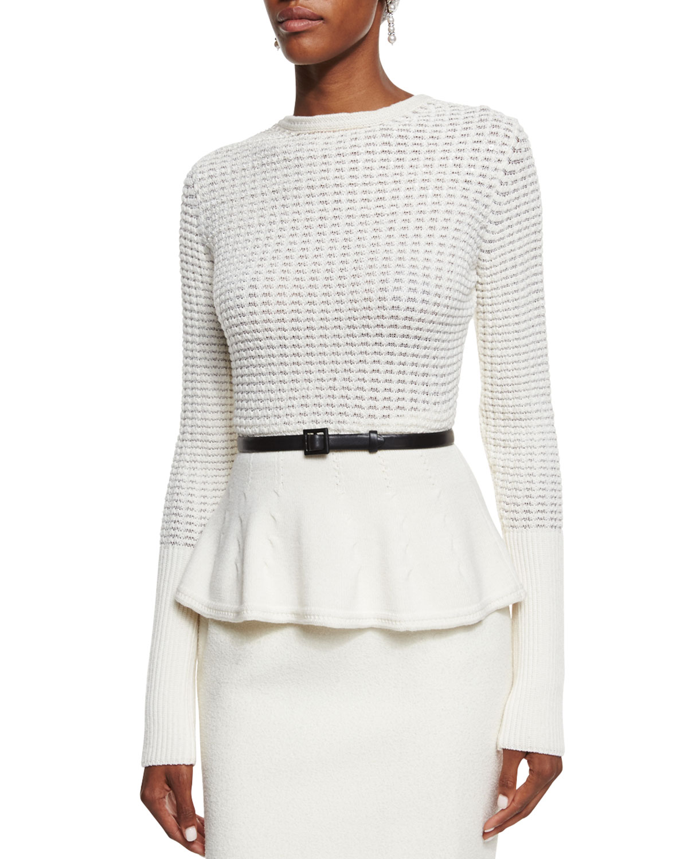 Embellished Waffle-Knit Peplum Sweater, Cream