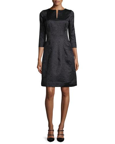 3/4-Sleeve Metallic A-Line Dress, Black