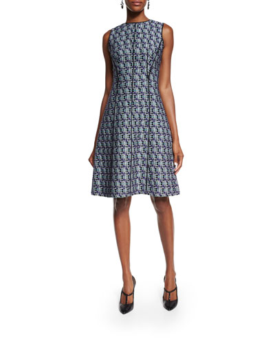 Sleeveless Multi-Print Tweed Dress, Bright Navy