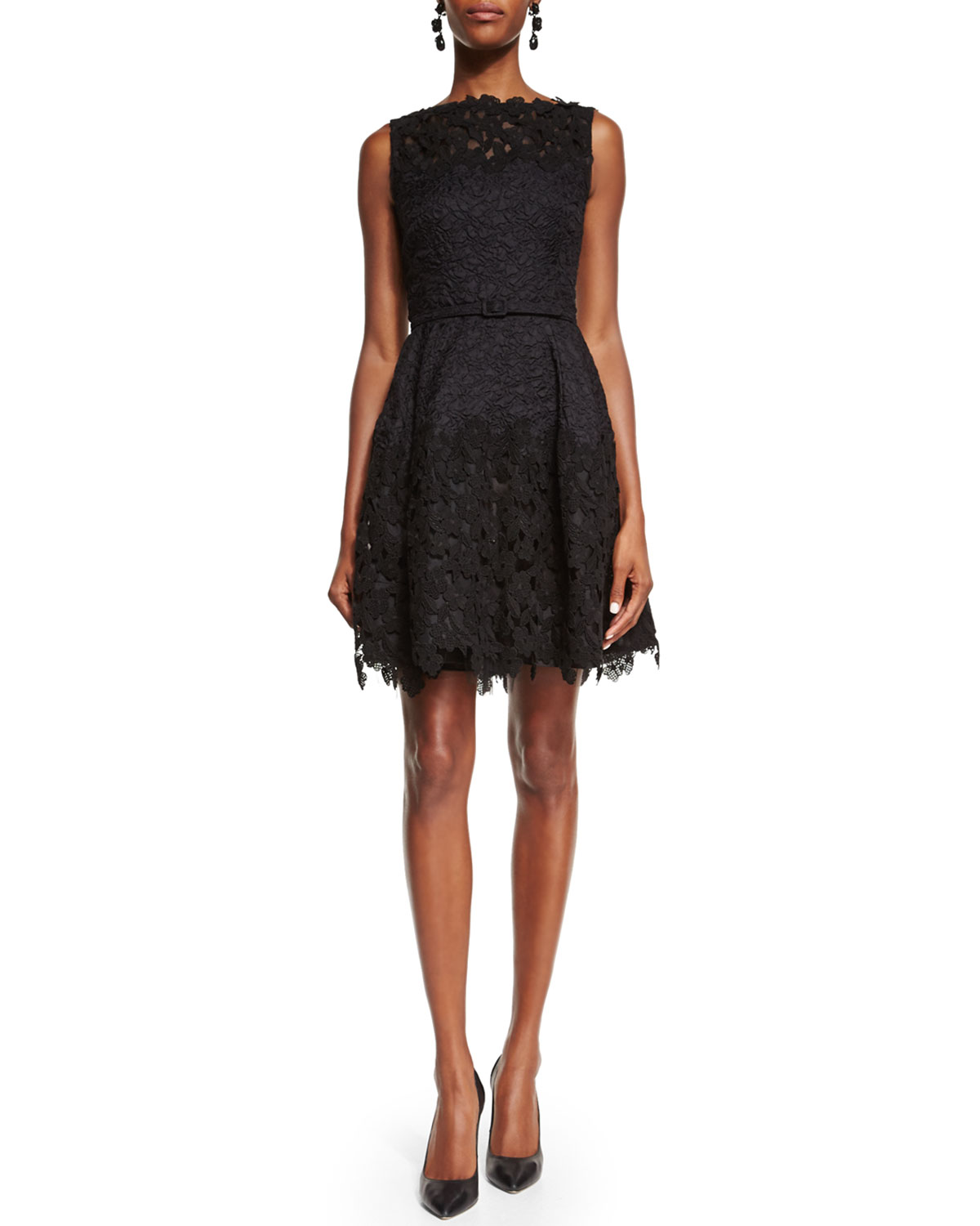 Lace Fit-&-Flare Cocktail Dress, Black