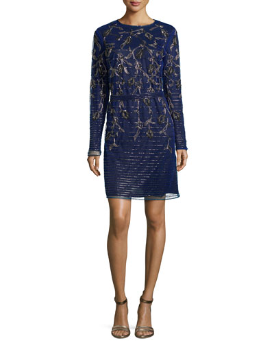 Climbing Floral Long-Sleeve Beaded Dress, Ink