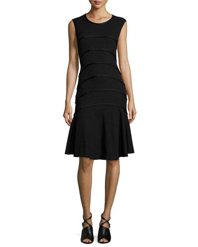 Sleeveless Boucle Seam Dress, Black