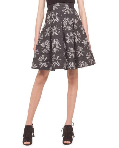 Pleated Jacquard Skirt, Tin
