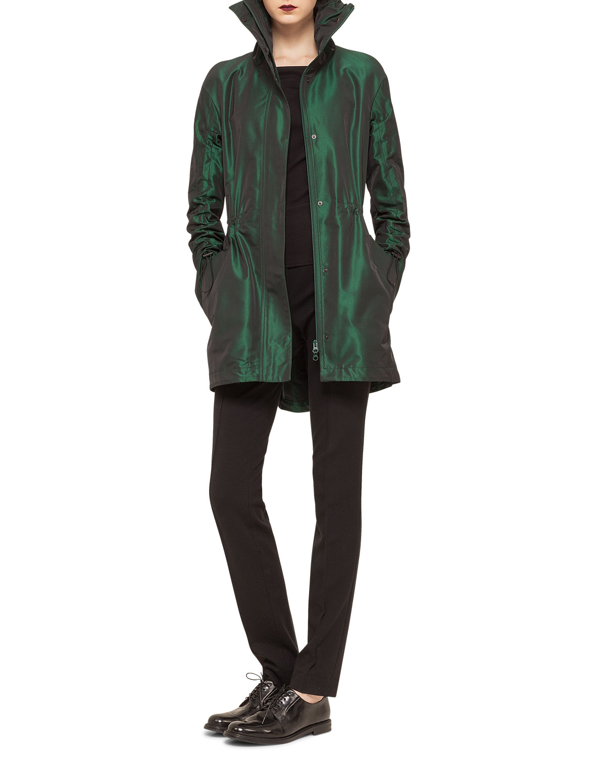 Iridescent Stand-Collar Short Parka