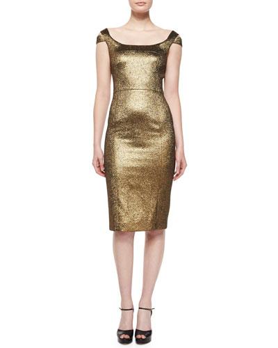 Metallic Off-The-Shoulder Sheath Dress, Gold