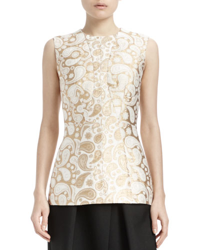 Paisley Brocade Sleeveless Top