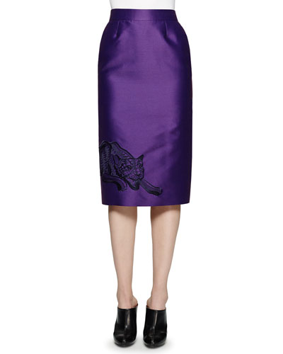 Cat-Embroidered Pencil Skirt