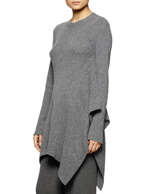 Crewneck Ribbed Cascading Tunic Sweater