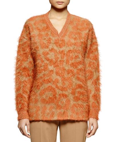 Leopard-Pattern Mohair-Blend Sweater