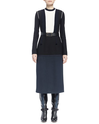 Long-Sleeve Colorblock Dress, Navy Blue