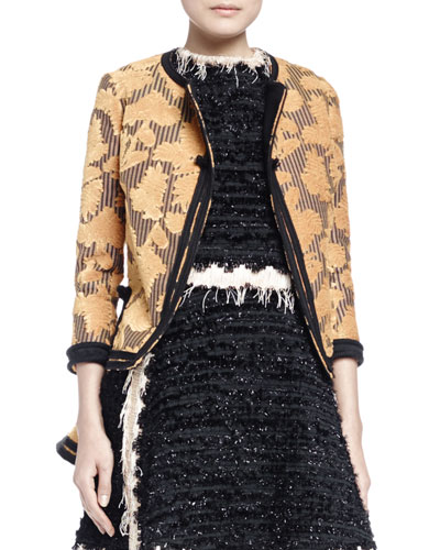 Embossed Peplum Jacket, Mimosa/Black