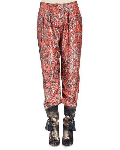Metallic-Print Pajama Pants, Fire Red