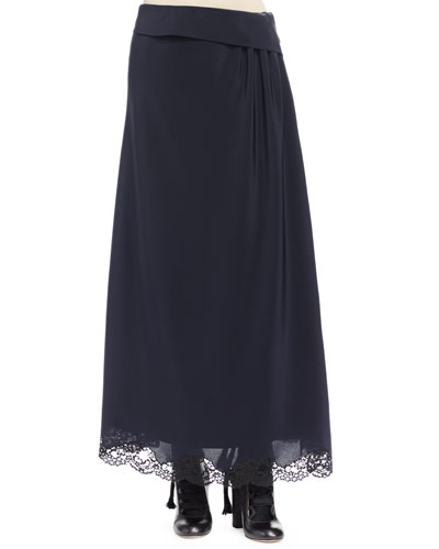 Side-Ruching A-Line Skirt, Navy