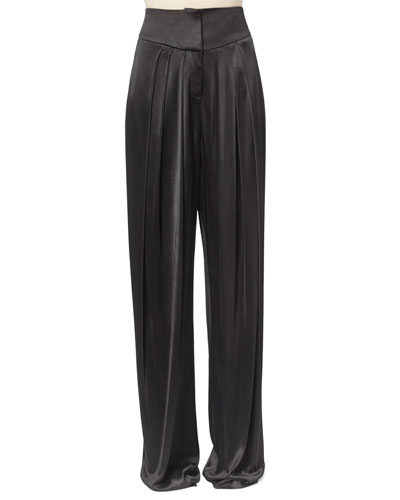 Pleated Satin Pants