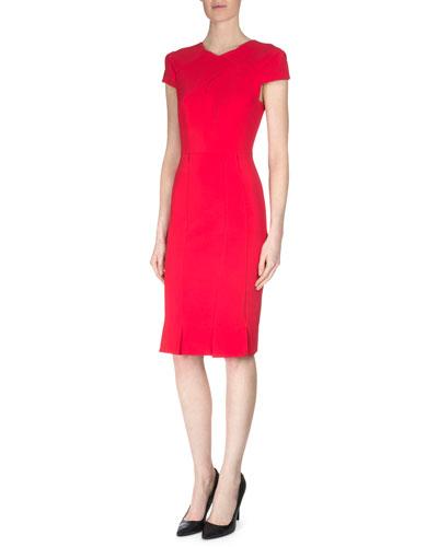 Cap-Sleeve Pleated Sheath Dress, Red