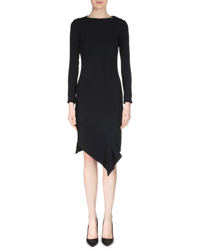 Marsili Long-Sleeve Asymmetric-Hem Dress, Black