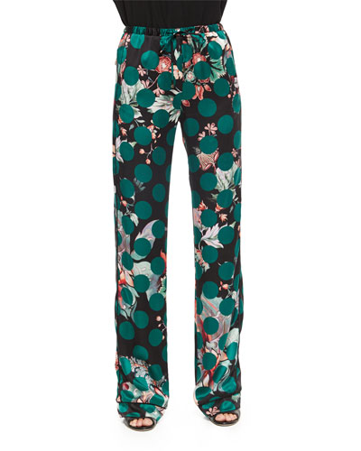 Printed Silk Pajama Pants, Green Multi