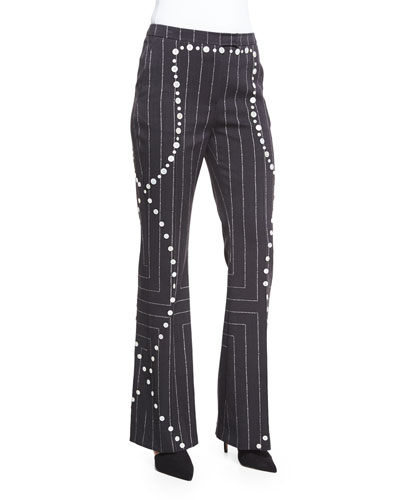 Square Pinstripe Button-Trimmed Flare Pants