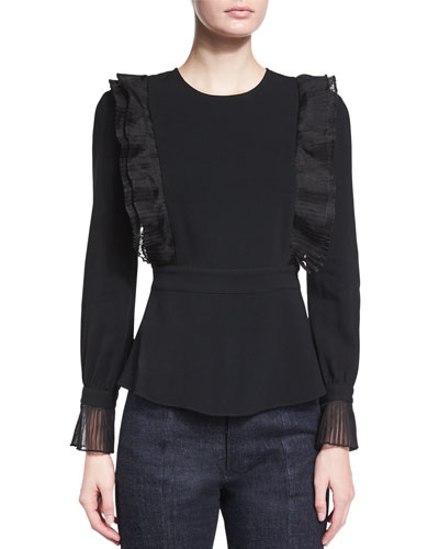 Long-Sleeve Ruffled Top, Black