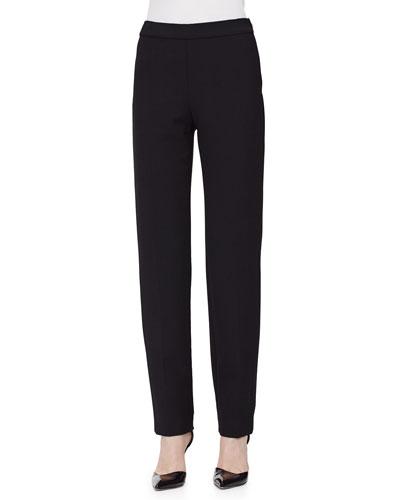 Clean-Front Pintuck Skinny Pants, Black