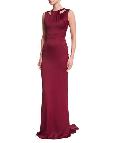 Sleeveless Cutout Satin Gown