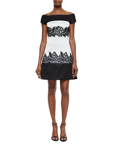 Off-The-Shoulder Lace Applique Cocktail Dress