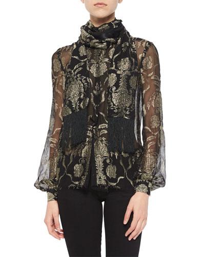 Metallic-Embroidered Wrap-Collar Blouse