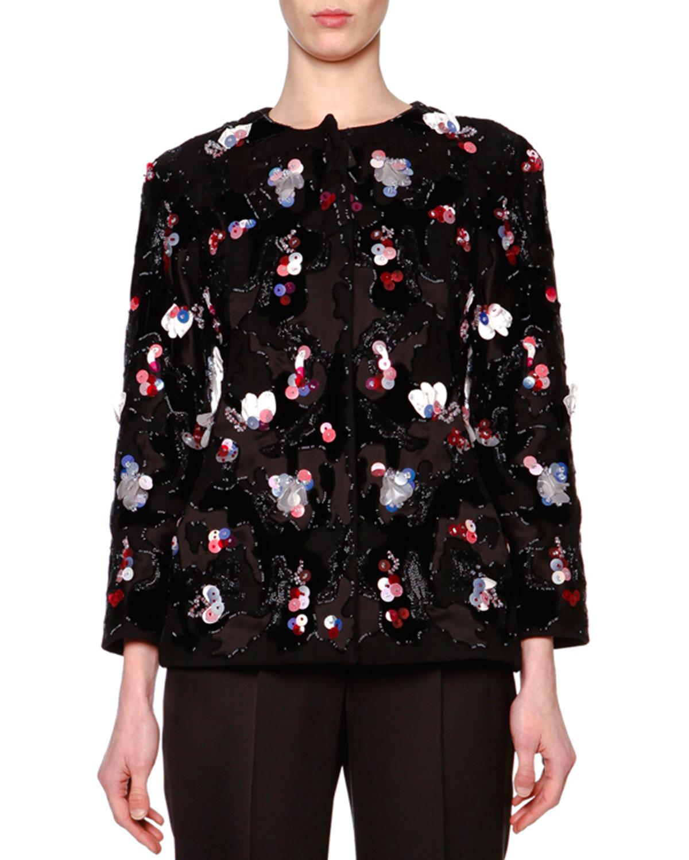 Floral Paillette Velvet Jacket