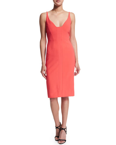 Sleeveless Scoop-Neck Sheath Dress, Coral