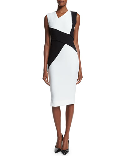 Sleeveless Asymmetric Colorblock Sheath Dress, Black/White