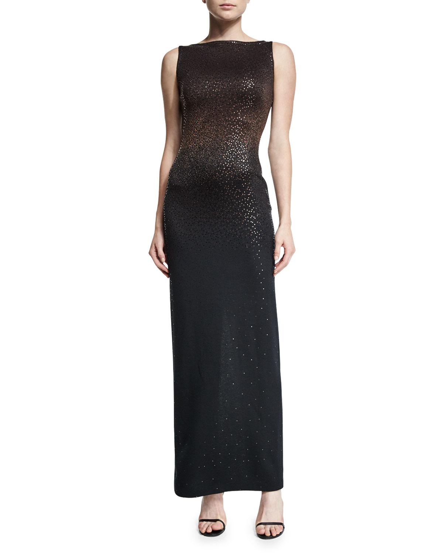 Degrade Shimmery Knit Bateau-Neck Gown, Caviar/Mahogany