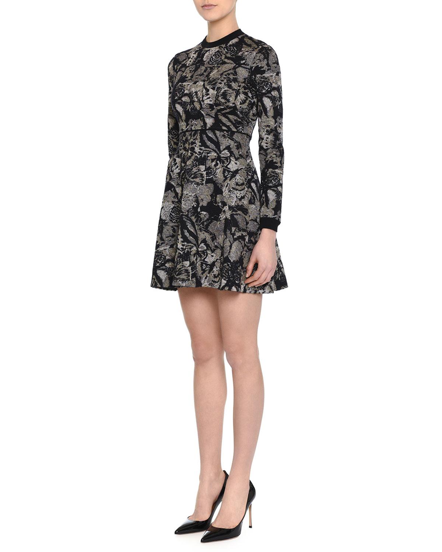 Long-Sleeve Jewel-Neck Printed Mini Dress, Black/Gold