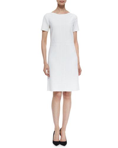 Short-Sleeve Bateau-Neck Shift Dress, Ivory
